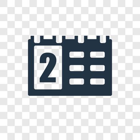 Calendar vector icon isolated on transparent background, Calendar transparency logo concept Stock Vector - 112481895