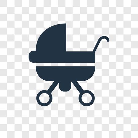 Icono de vector de carro de bebé aislado sobre fondo transparente, concepto de logo de transparencia de carro de bebé