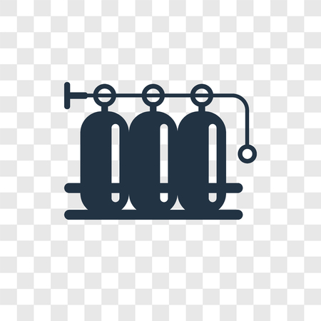 Oxygen tank vector icon isolated on transparent background, Oxygen tank transparency logo concept