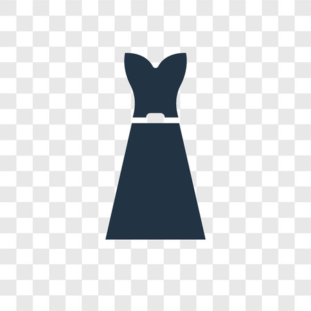 Strapless tube dress vector icon isolated on transparent background, Strapless tube dress transparency logo concept