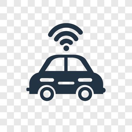 Autonomous car vector icon isolated on transparent background, Autonomous car transparency logo concept