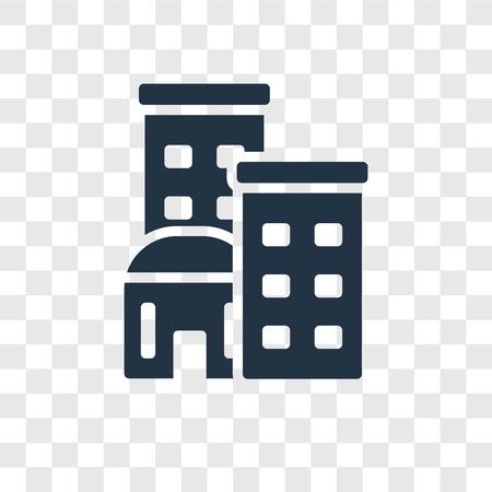 Icono de vector de edificio aislado sobre fondo transparente, concepto de logo de transparencia de edificio Logos