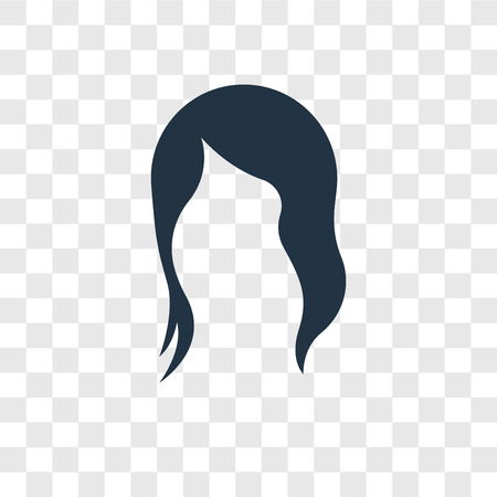Icono de vector de pelo negro largo femenino aislado sobre fondo transparente, concepto de logo de transparencia de cabello negro largo femenino