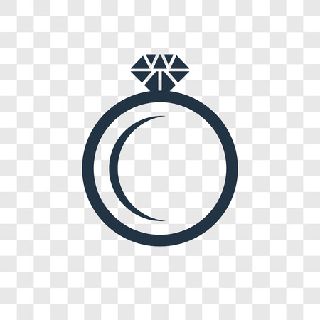 Diamond ring vector icon isolated on transparent background, Diamond ring transparency logo concept