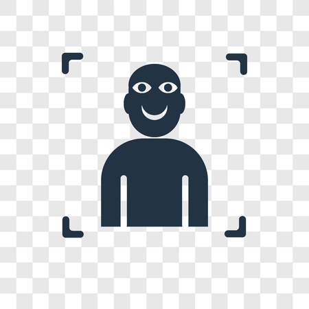 Facial recognition vector icon isolated on transparent background, Facial recognition transparency logo concept