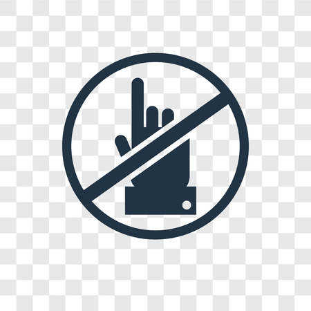 No touch vector icon isolated on transparent background, No touch transparency logo concept Vectores