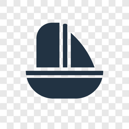 Sailing boat vector icon isolated on transparent background, Sailing boat transparency logo concept