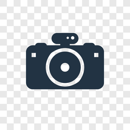 Photo camera vector icon isolated on transparent background, Photo camera transparency logo concept Standard-Bild - 112441631