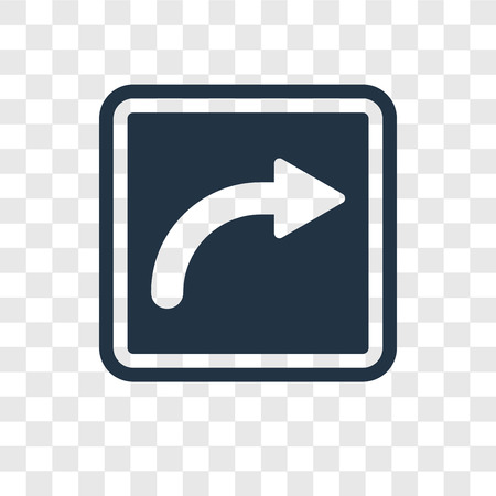 Turn Right vector icon isolated on transparent background, Turn Right transparency logo concept Illustration