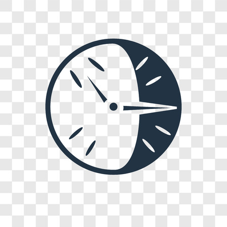 Clock vector icon isolated on transparent background, Clock transparency logo concept Illustration
