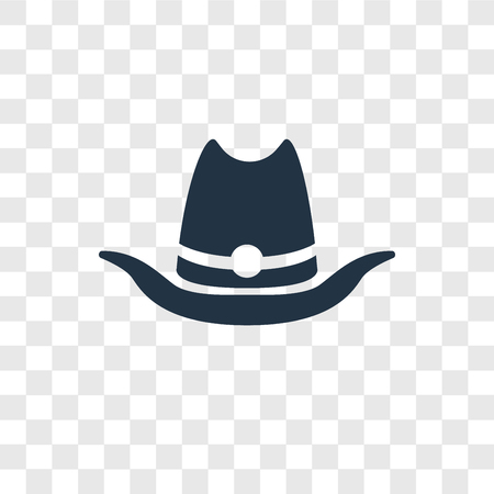 Cowboy hat vector icon isolated on transparent background, Cowboy hat transparency logo concept Illustration