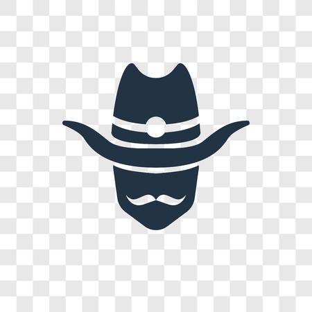 Icona di vettore di cowboy isolato su sfondo trasparente, concetto di logo di trasparenza di Cowboy Logo