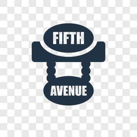 Icono de vector de quinta avenida aislado sobre fondo transparente, concepto de logo de transparencia de quinta avenida