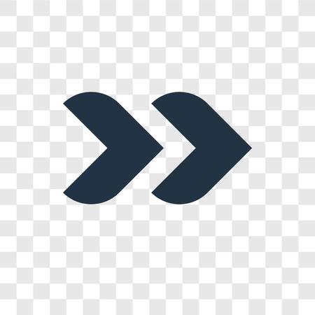 Icône vecteur suivant isolé sur fond transparent, concept logo prochaine transparence