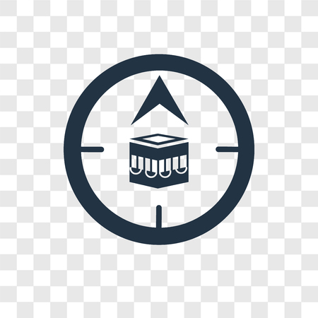 Qibla vector icon isolated on transparent background, Qibla transparency logo concept Illustration