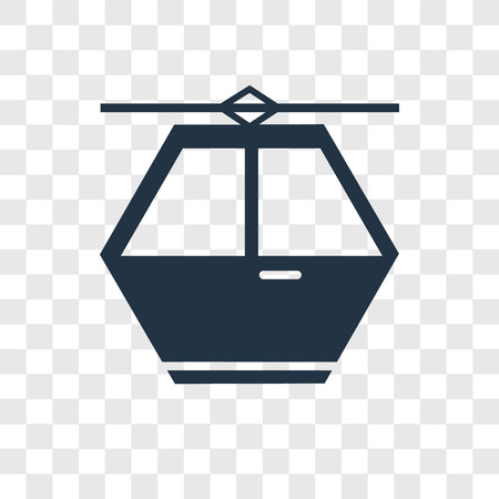 Cable car vector icon isolated on transparent background, Cable car transparency logo concept