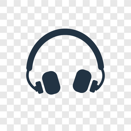 Headphones vector icon isolated on transparent background, Headphones transparency logo concept
