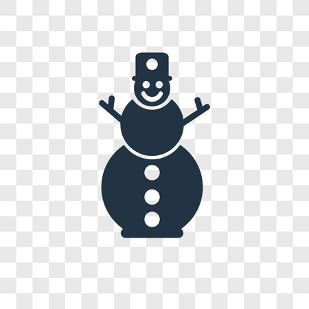 Snowman vector icon isolated on transparent background, Snowman transparency logo concept