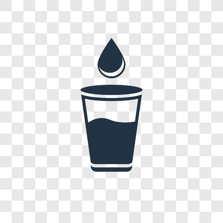 Glass of Water with Drop vector icon isolated on transparent background, Glass of Water with Drop transparency logo concept Ilustração