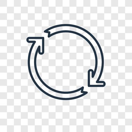 Icône linéaire de vecteur de concept de rotation isolé sur fond transparent, concept de transparence concept de rotation dans le style de contour