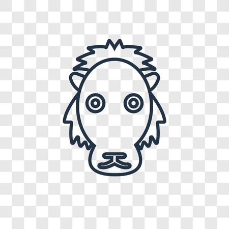 Lion concept vector linear icon isolated on transparent background, Lion concept transparency concept in outline style
