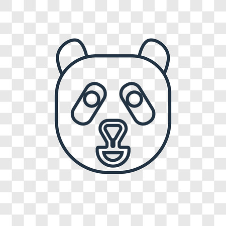 Panda Bear concept vector linear icon isolated on transparent background, Panda Bear concept transparency concept in outline style