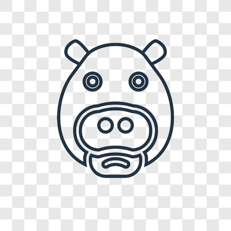 Hippopotamus concept vector linear icon isolated on transparent background, Hippopotamus concept transparency concept in outline style