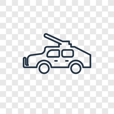 Military vehicle concept vector linear icon isolated on transparent background, Military vehicle concept transparency concept in outline style
