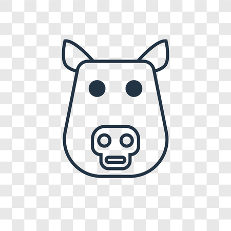 Pig concept vector linear icon isolated on transparent background, Pig concept transparency concept in outline style