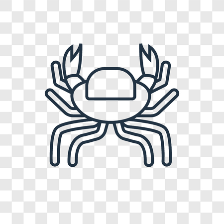 Crab concept vector linear icon isolated on transparent background, Crab concept transparency concept in outline style