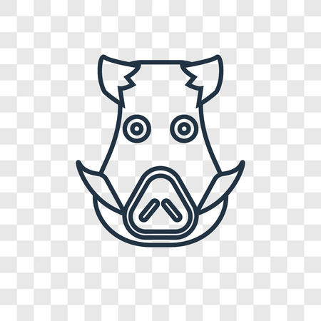 Boar concept vector linear icon isolated on transparent background, Boar concept transparency concept in outline style