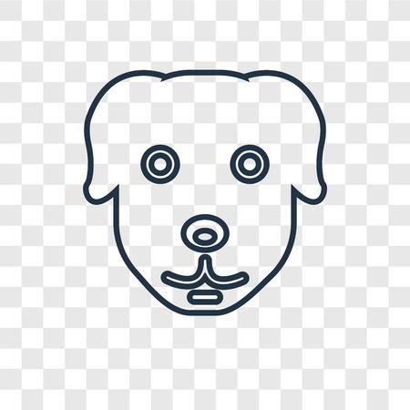 Dog concept vector linear icon isolated on transparent background, Dog concept transparency concept in outline style