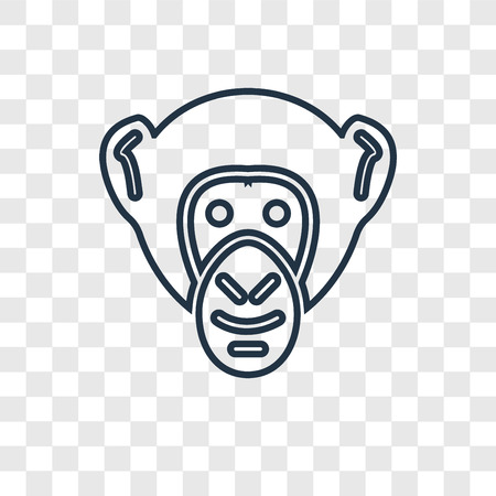 Chimpanzee concept vector linear icon isolated on transparent background, Chimpanzee concept transparency concept in outline style