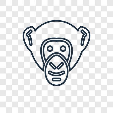 Icône linéaire de vecteur de concept de chimpanzé isolé sur fond transparent, concept de transparence concept de chimpanzé dans le style de contour