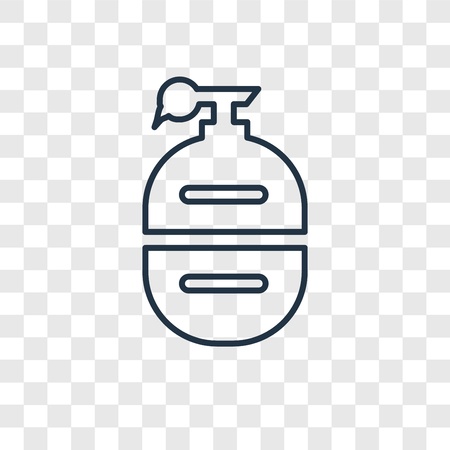 Grenade concept vector linear icon isolated on transparent background, Grenade concept transparency concept in outline style