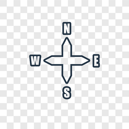 Points cardinaux sur l'icône linéaire de vecteur de concept d'étoile de vents isolé sur fond transparent, points cardinaux sur le concept de transparence de concept d'étoile de vents dans le style de contour
