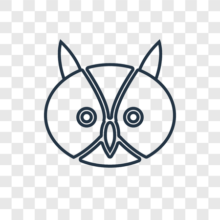 Owl concept vector linear icon isolated on transparent background, Owl concept transparency concept in outline style
