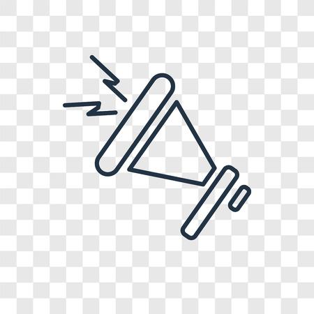 Icona lineare di vettore di concetto di megafono isolato su sfondo trasparente, concetto di trasparenza di concetto di megafono in stile del contorno Vettoriali