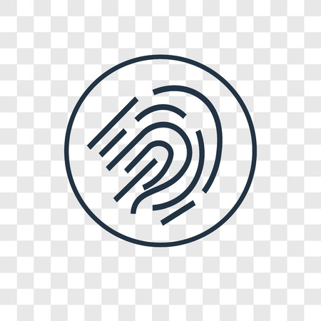 Fingerprint scan concept vector linear icon isolated on transparent background, Fingerprint scan concept transparency concept in outline style