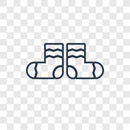 Icône linéaire de vecteur de concept de chaussettes isolée sur fond transparent, concept de transparence de concept de chaussettes dans le style de contour