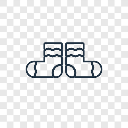 Socks concept vector linear icon isolated on transparent background, Socks concept transparency concept in outline style