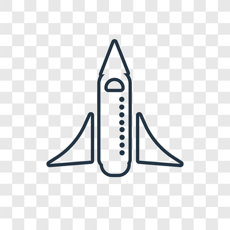 Space shuttle concept vector linear icon isolated on transparent background, Space shuttle concept transparency concept in outline style