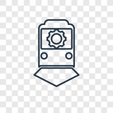 Train concept vector linear icon isolated on transparent background, Train concept transparency concept in outline style