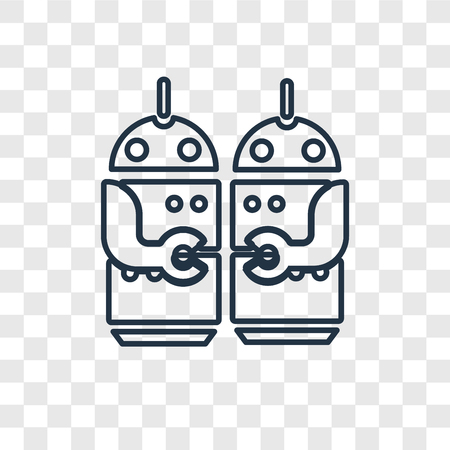 Robots concept vector linear icon isolated on transparent background, Robots concept transparency concept in outline style Vecteurs