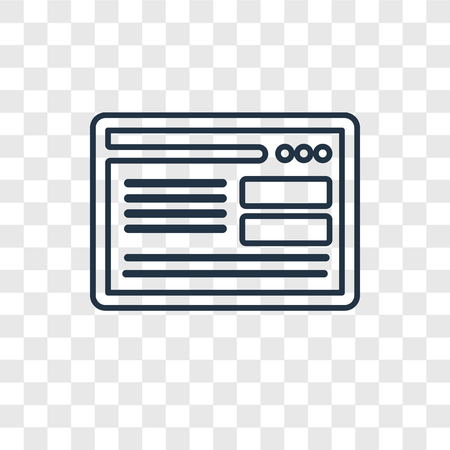 Browser concept vector linear icon isolated on transparent background, Browser concept transparency concept in outline style