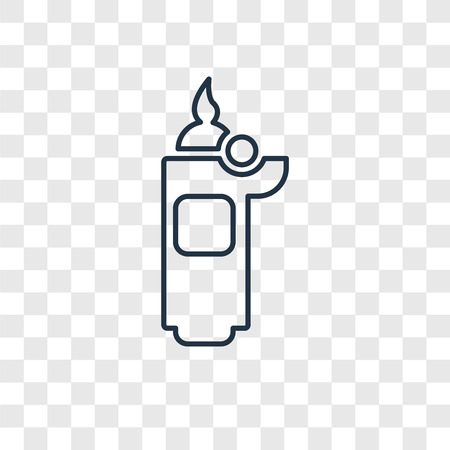 Lighter concept vector linear icon isolated on transparent background, Lighter concept transparency concept in outline style