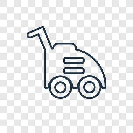 Lawn mower concept vector linear icon isolated on transparent background, Lawn mower concept transparency concept in outline style