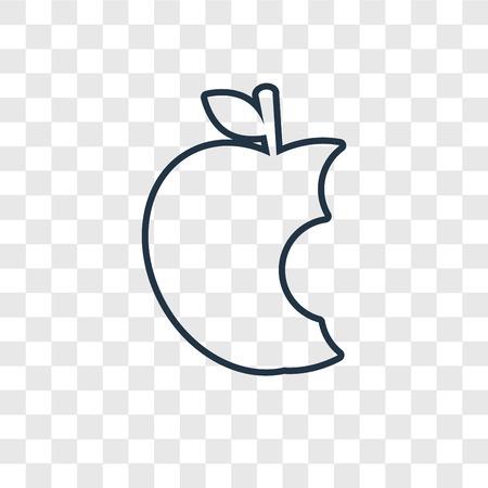 Icono lineal de vector de concepto de Apple aislado sobre fondo transparente, concepto de transparencia de concepto de Apple en estilo de contorno