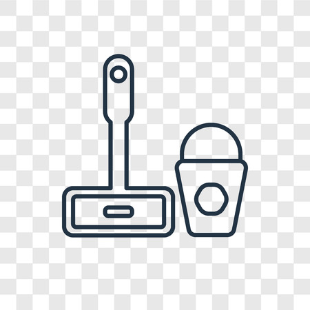 Mop cleanin concept vector linear icon isolated on transparent background, Mop cleanin concept transparency concept in outline style 向量圖像