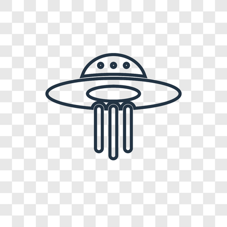 UFO concept vector linear icon isolated on transparent background, UFO concept transparency concept in outline style